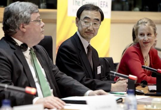 Reinhard Bütikofer with Deputy Director General Keiichi Kawakami and Judith Merkies, MEP (S&D)