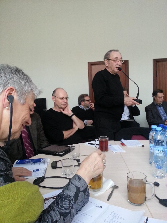 Eröffnung des Grünen Russlandforums: Arsenij Roginsky und Marieluise Beck (MdB) begrüßen die russischen und deutschen TeilnehmerInnen