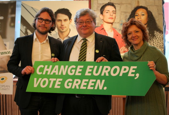 vlnr: Alexander Diehl (KKLD), Reinhard Bütikofer, Monica Frassoni – Co-Chairs of the European Green Party