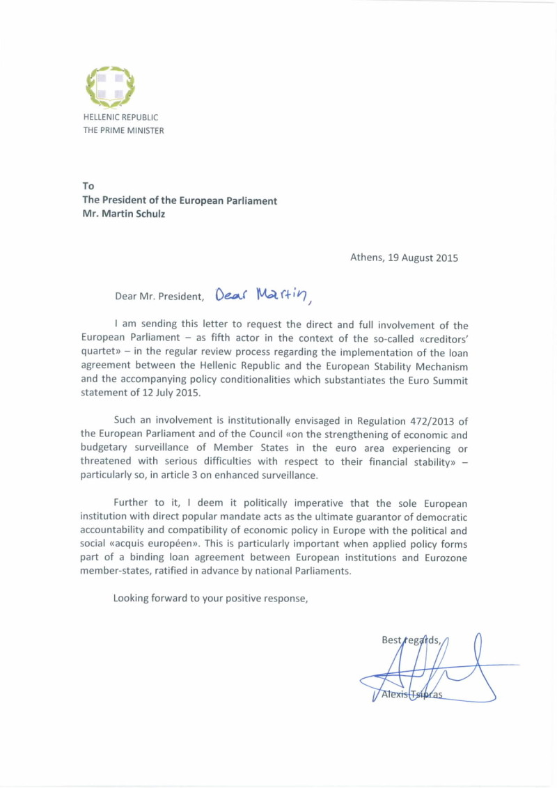 Letter to the President of the EP