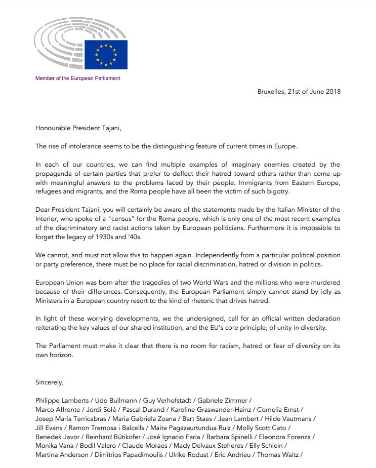 Brief An Tajani